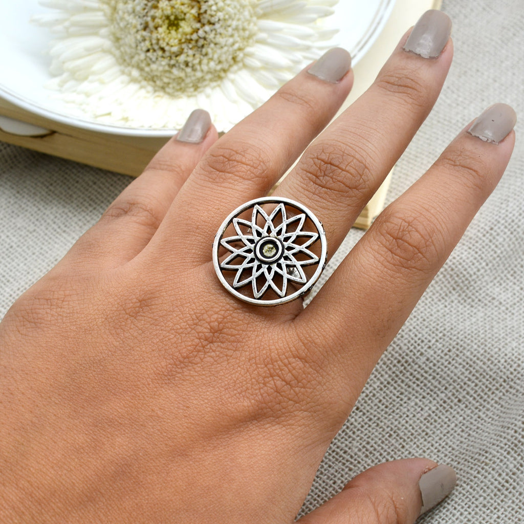 Pallavi Silver Oxidized Filigree Ring - Teejh