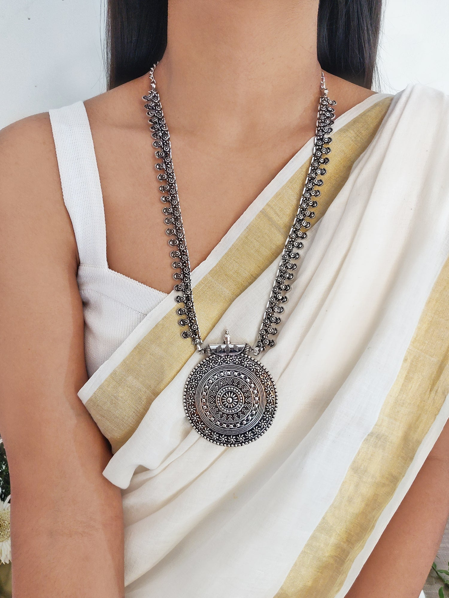 Anika Silver Oxidized Long Necklace - Teejh