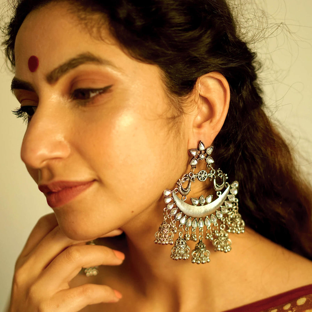 Leena Silver Oxidized Chandbali Earrings