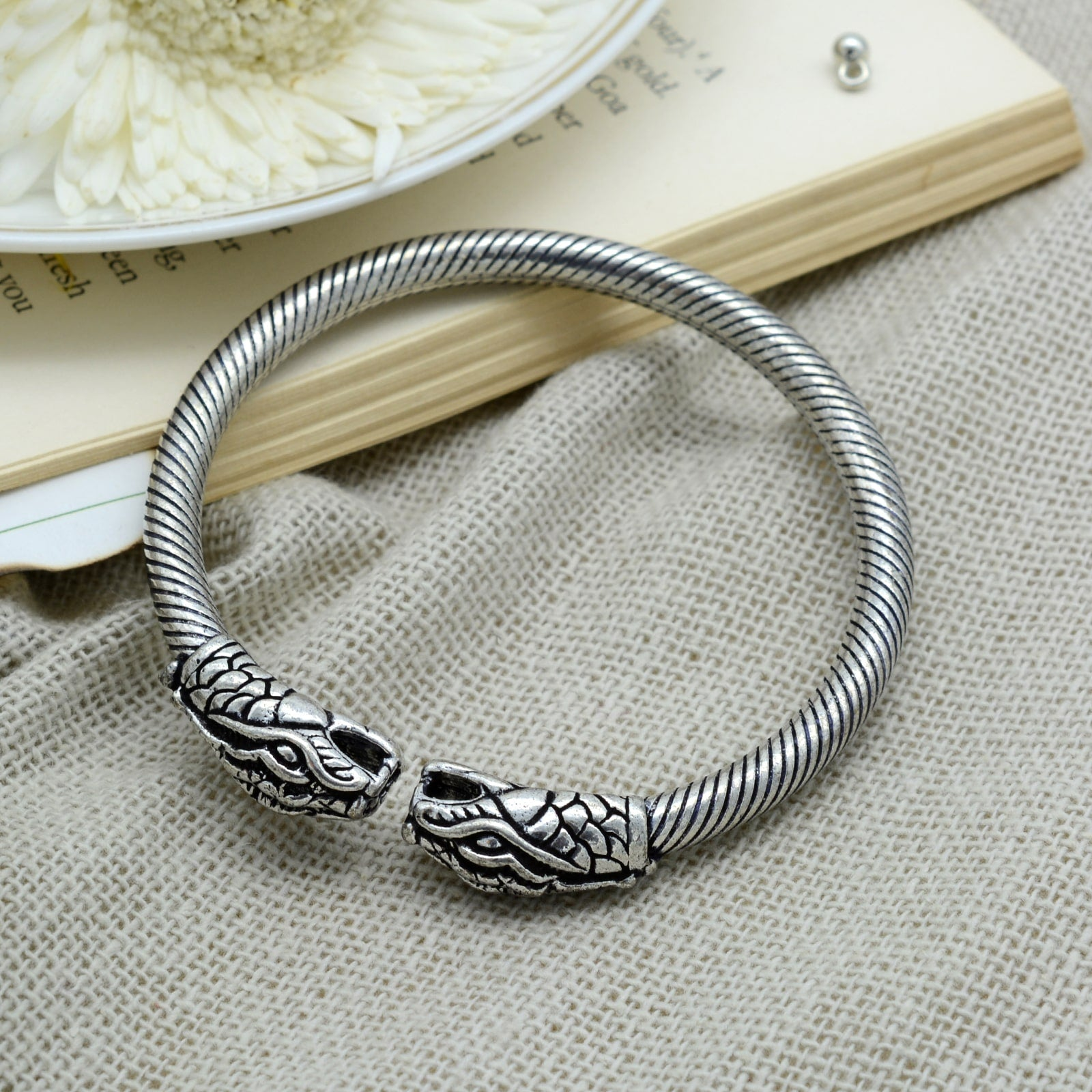 Vahini Silver Oxidized Kada Bangle - Teejh