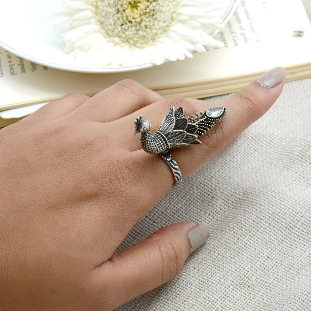 Sukriti Antique Silver Oxidized Peacock Ring - Teejh