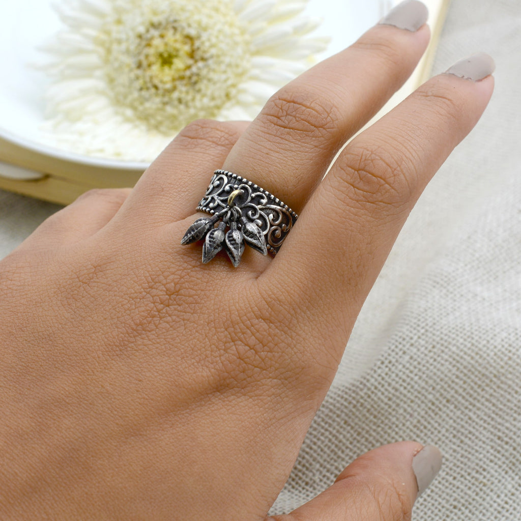 Abhilasha Silver Oxidized Multi Leaves Ring - Teejh