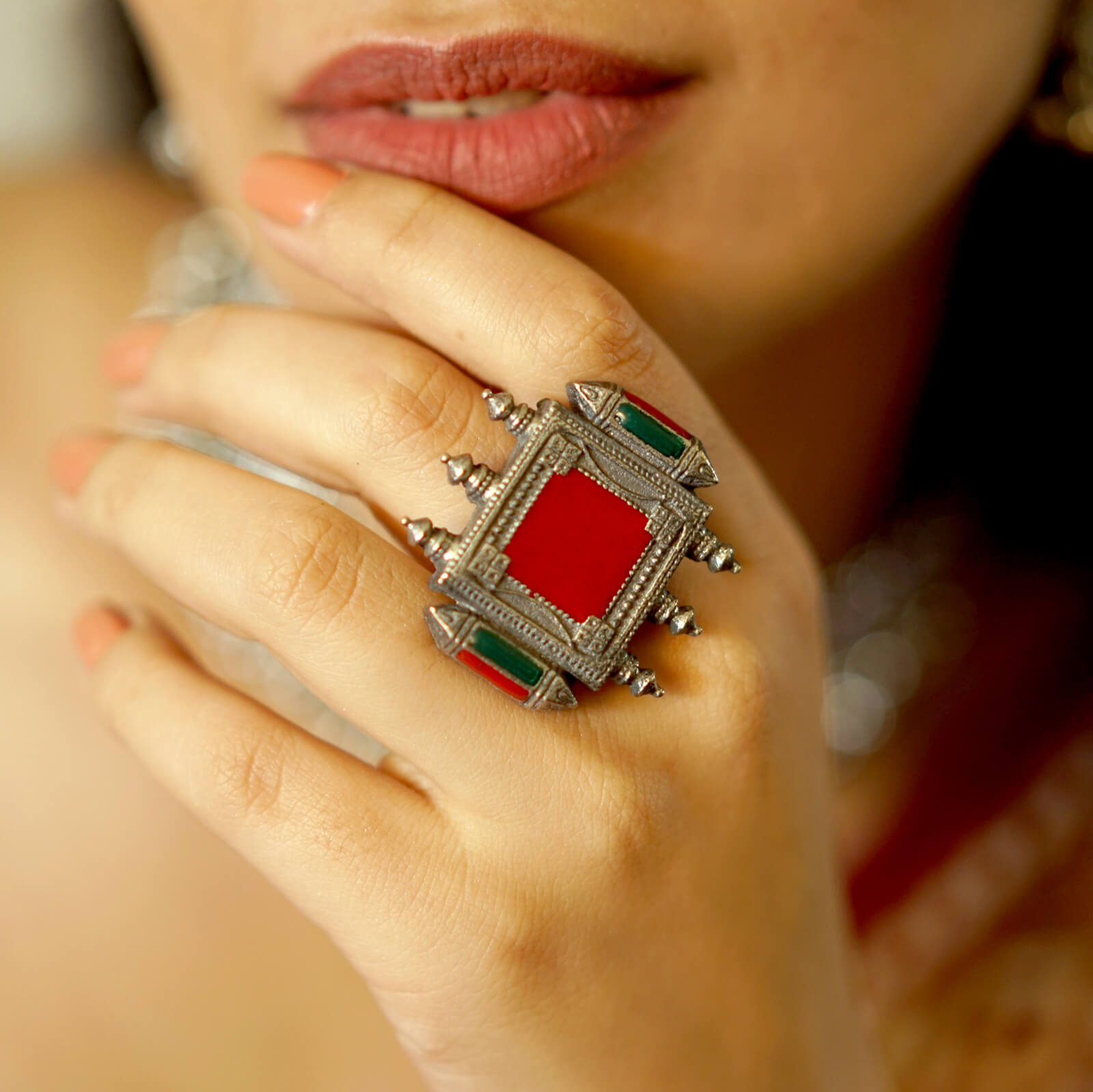 Meena Multi Colored Enamel Silver Oxidized Ring