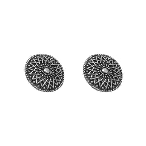 Mansa Circular Silver Oxidized Studs Earrings