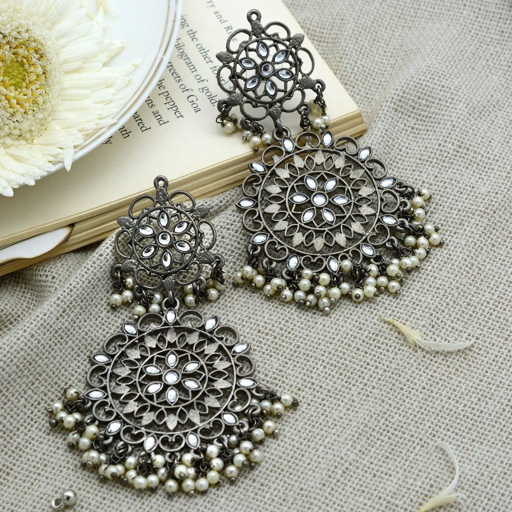 Swati Silver Oxidized Filigree Statement Earrings - Teejh