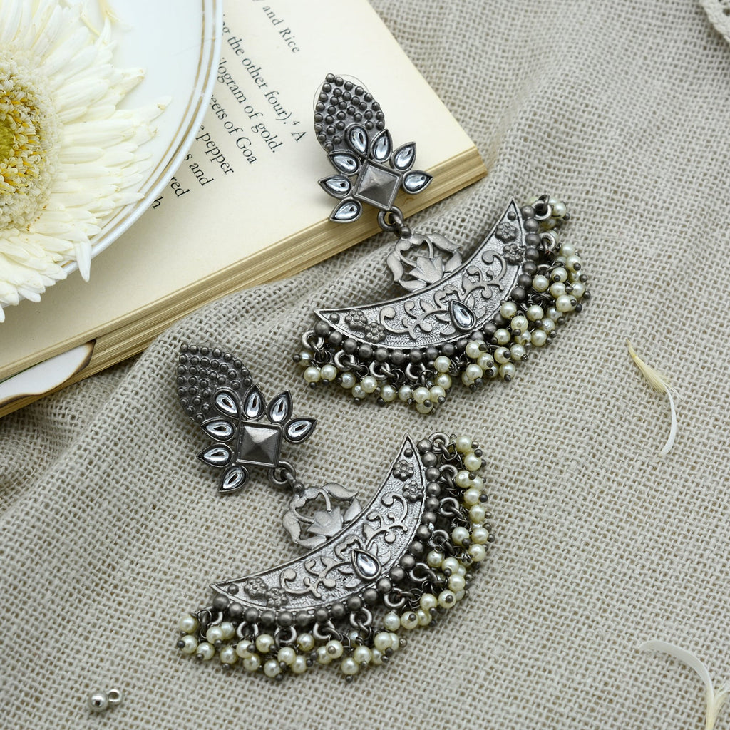 Ishika Silver Oxidized Statement Chandbali Earrings - Teejh