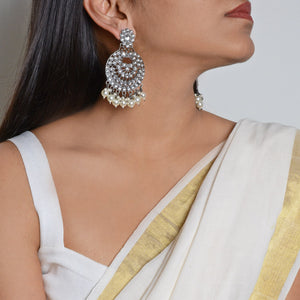 Nisha Silver Oxidized Statement Earrings - Teejh