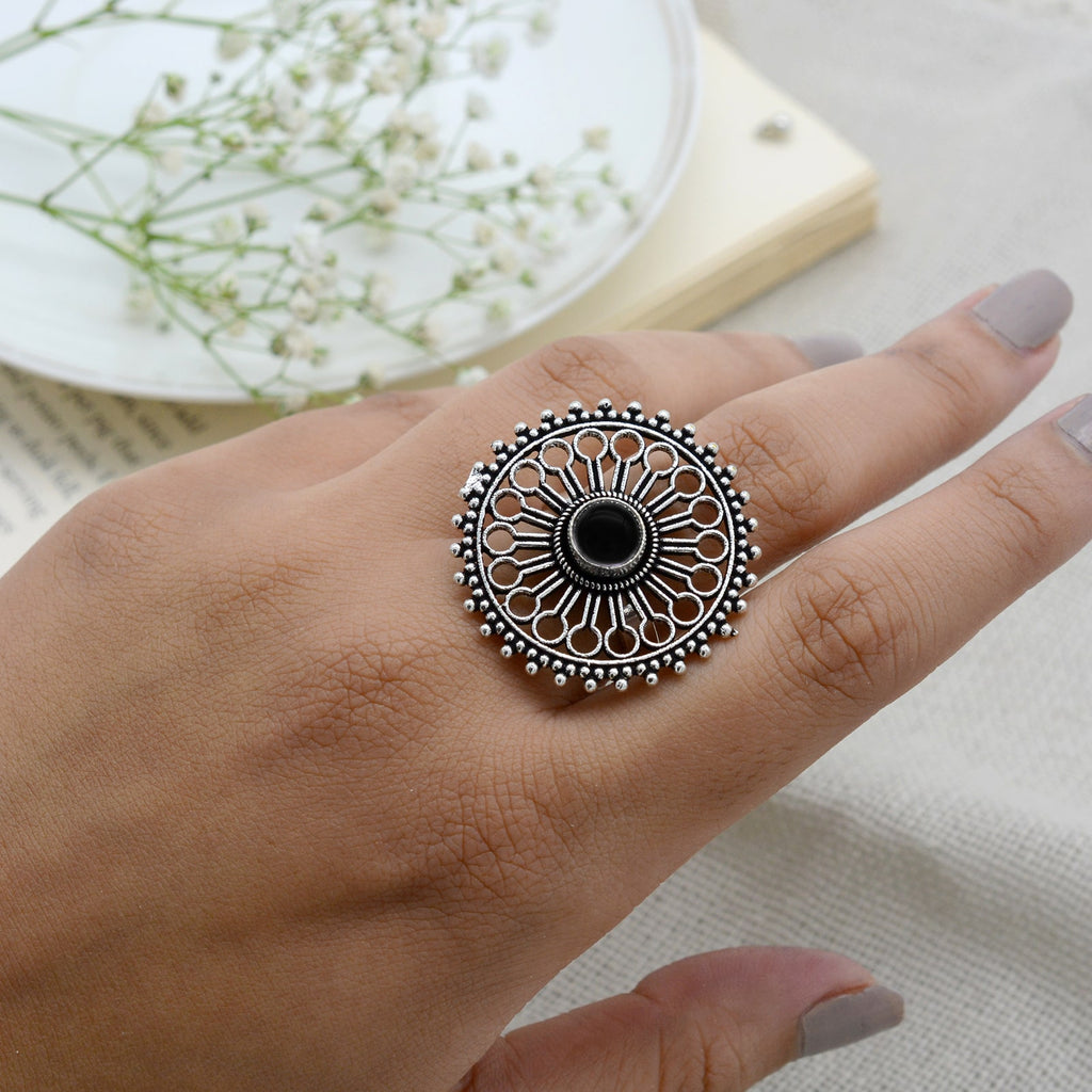 Aruna Black Silver Oxidized Filigree Ring - Teejh