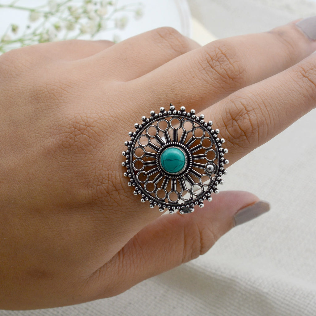 Aruna Turquoise Silver Oxidized Filigree Ring