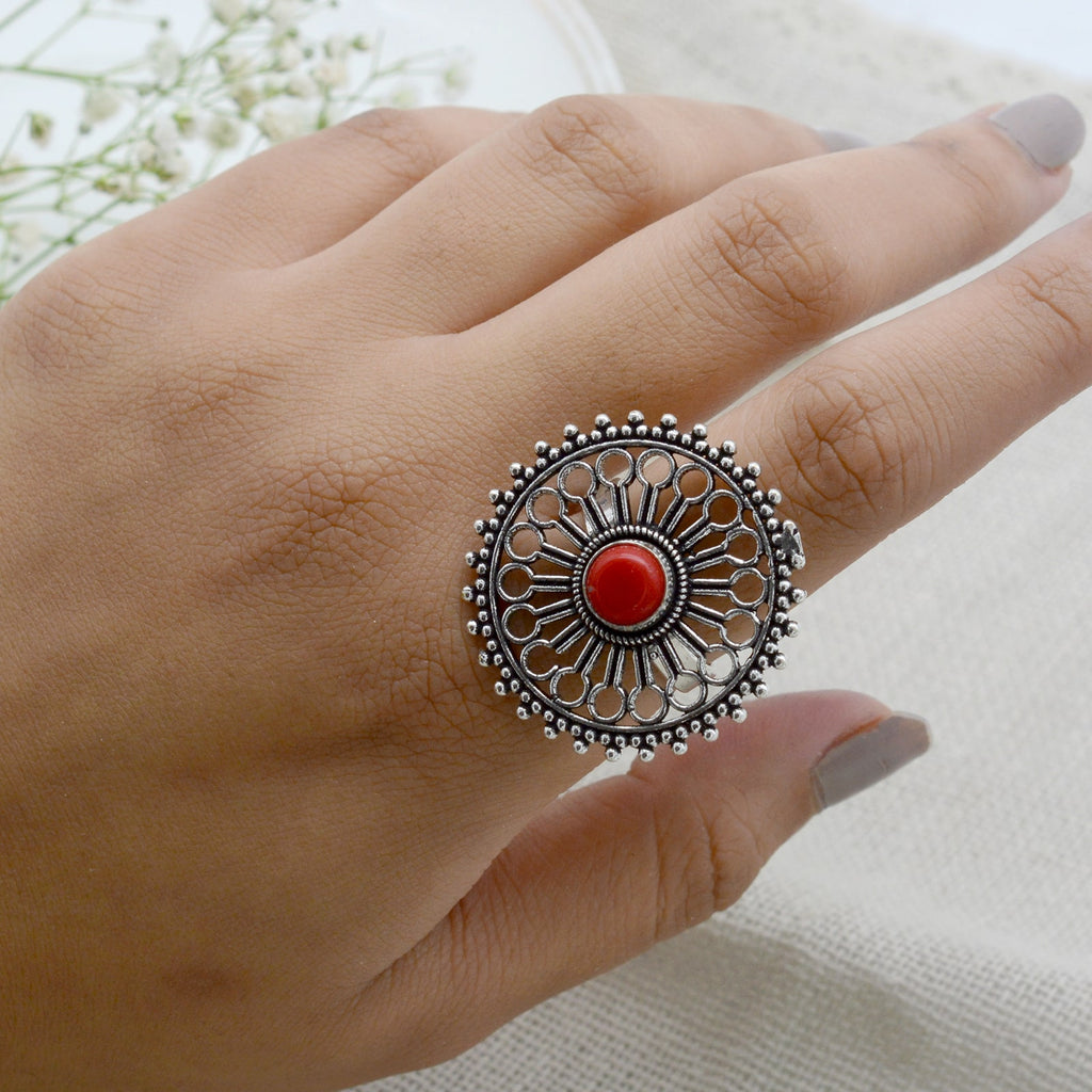 Aruna Red Silver Oxidized Filigree Ring - Teejh