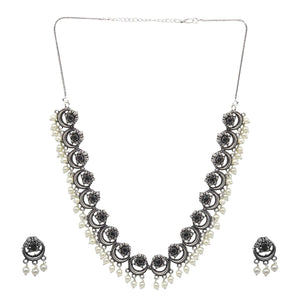 Teejh Rupa Black Stone Silver Oxidized Floral Necklace Set
