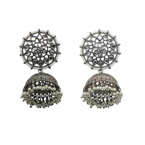 Teejh Vaishali White Filigree Silver Antique Floral Pearl Jhumka Earrings