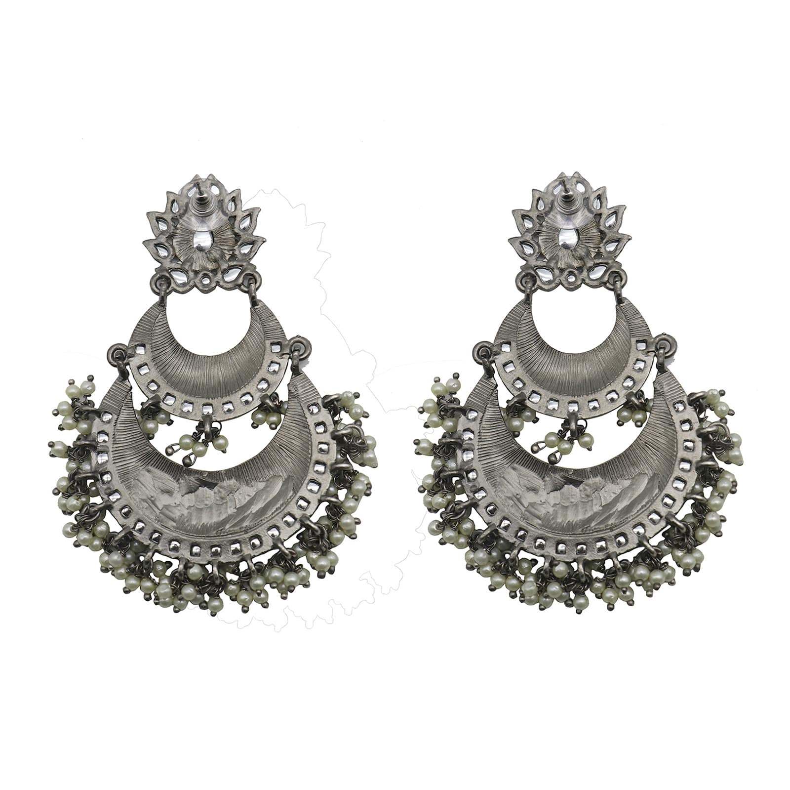 Teejh Shalu White Floral Silver Antique Pearl Floral Chandbali Earrings