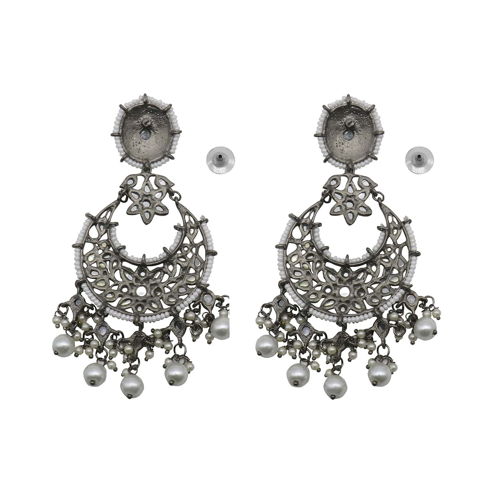 Teejh Tulsi White Floral Silver Antique Pearl Chandbali Earrings