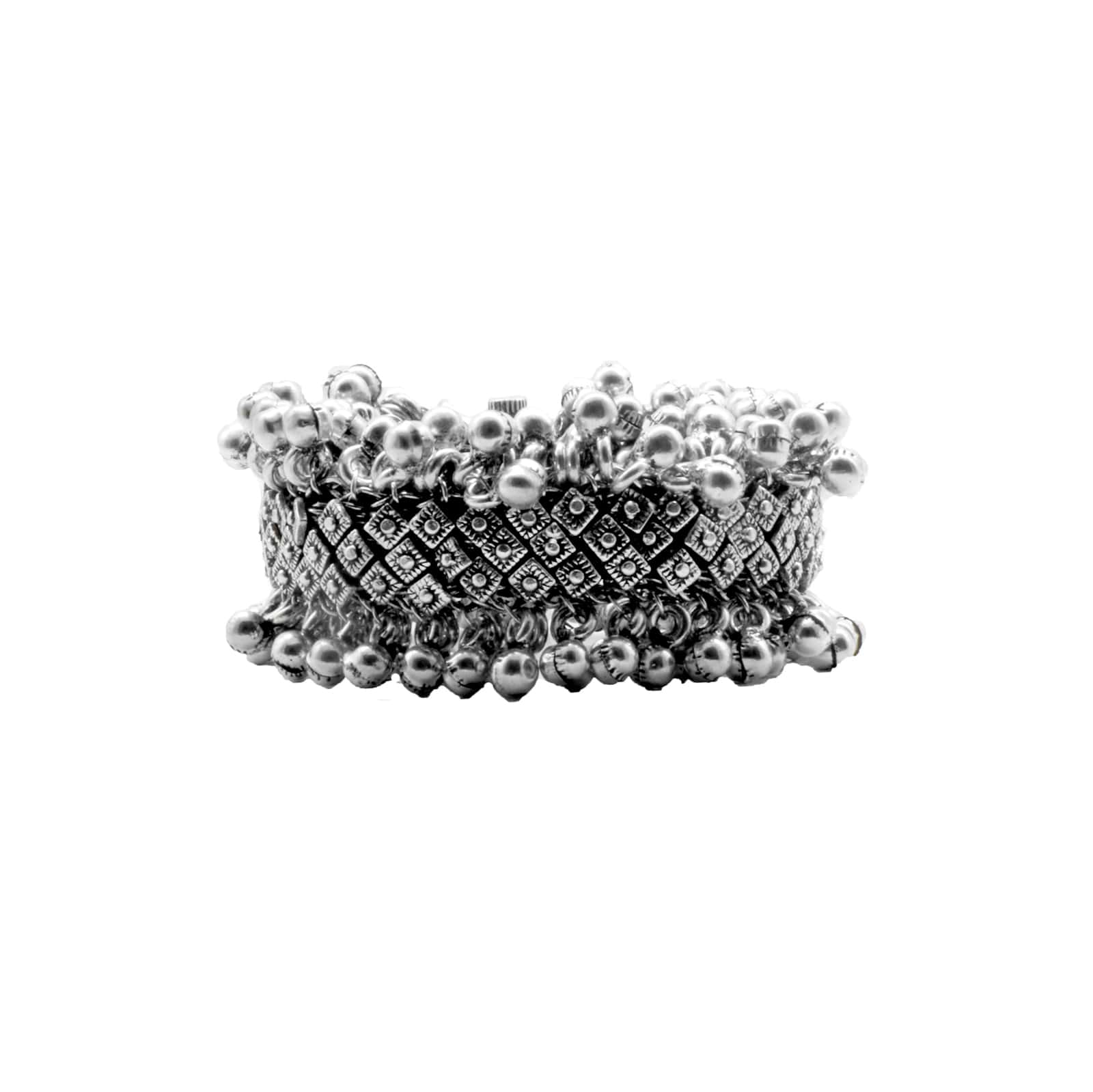 Teejh Geeta Rawa Work Silver Oxidized Ghungroo Bangle