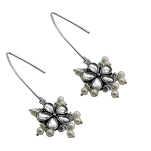 Teejh Mellow Polki Silver Oxidized Pearl Earrings