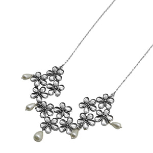 Teejh Nourish Polki Silver Oxidized Pearl Choker Necklace