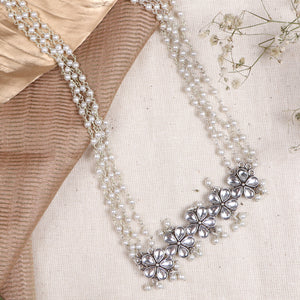 Teejh Blush Polki Silver Oxidized Pearl Long Necklace