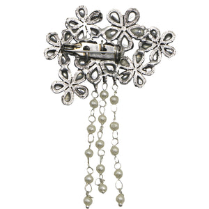 Teejh Bunch Polki Silver Oxidized Pearl Brooch