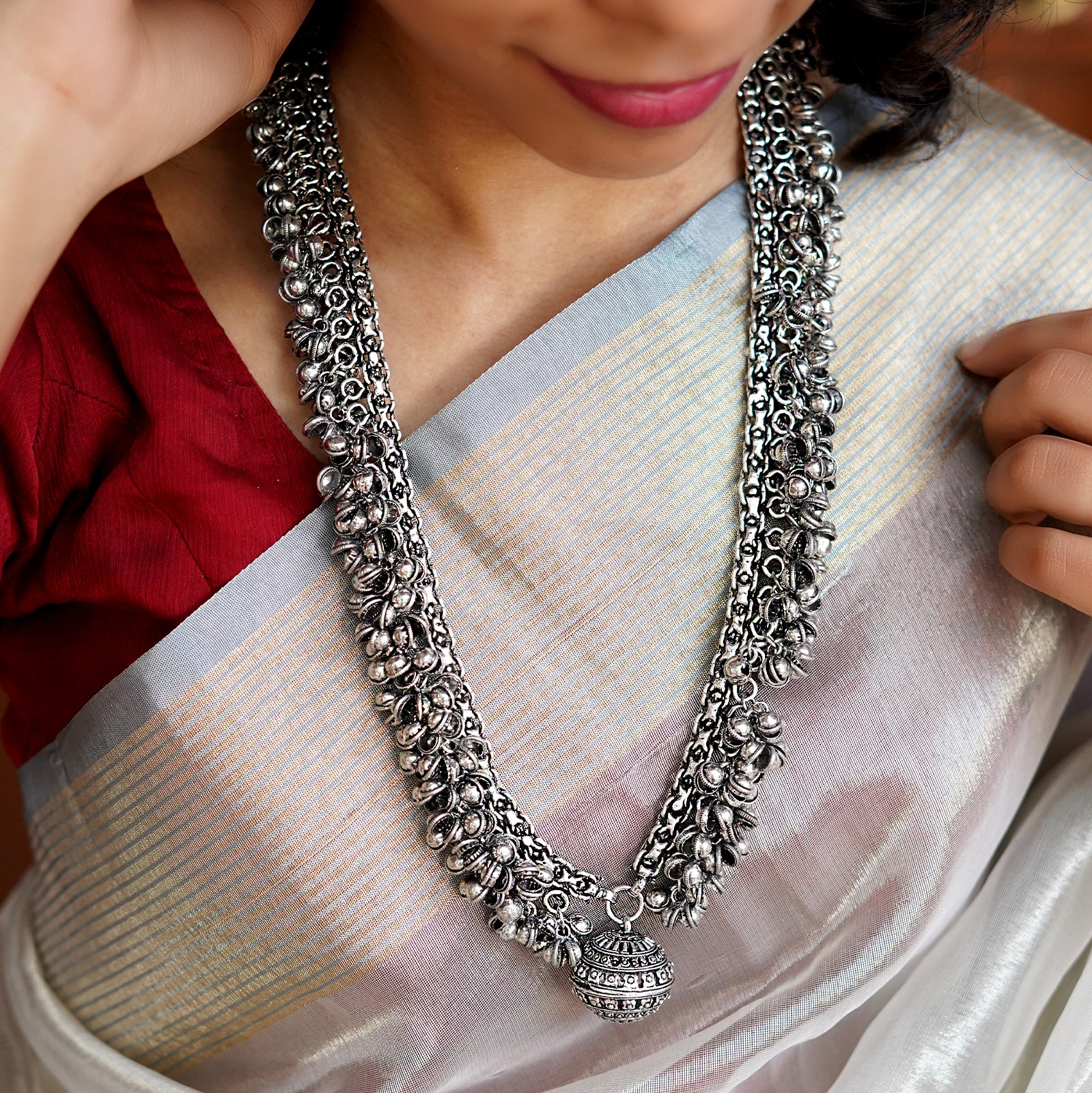 Teejh Reethika Oxidized Ghungroo Long Necklace
