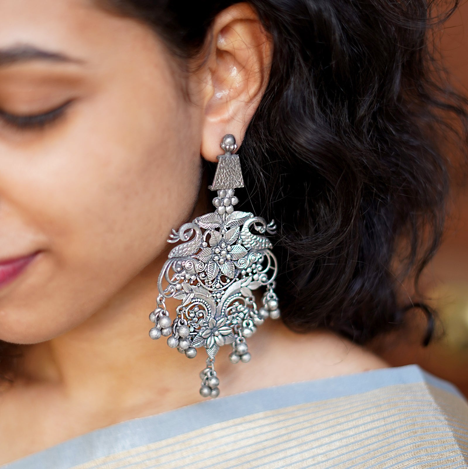 Teejh Aarna Peacock Silver Oxidised Earrings