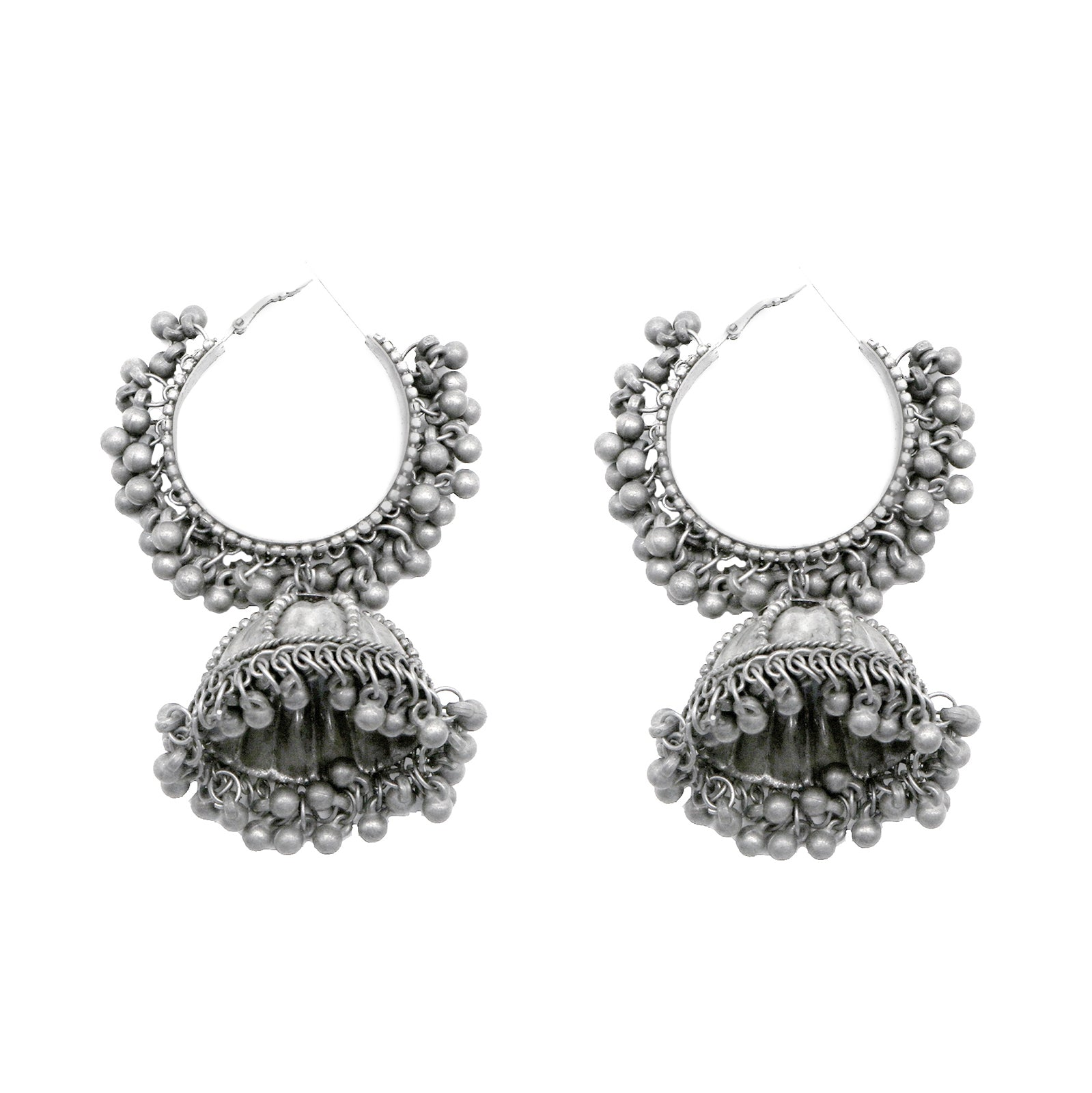 Teejh Alisha Pearl Silver Oxidised Jhumki Earrings