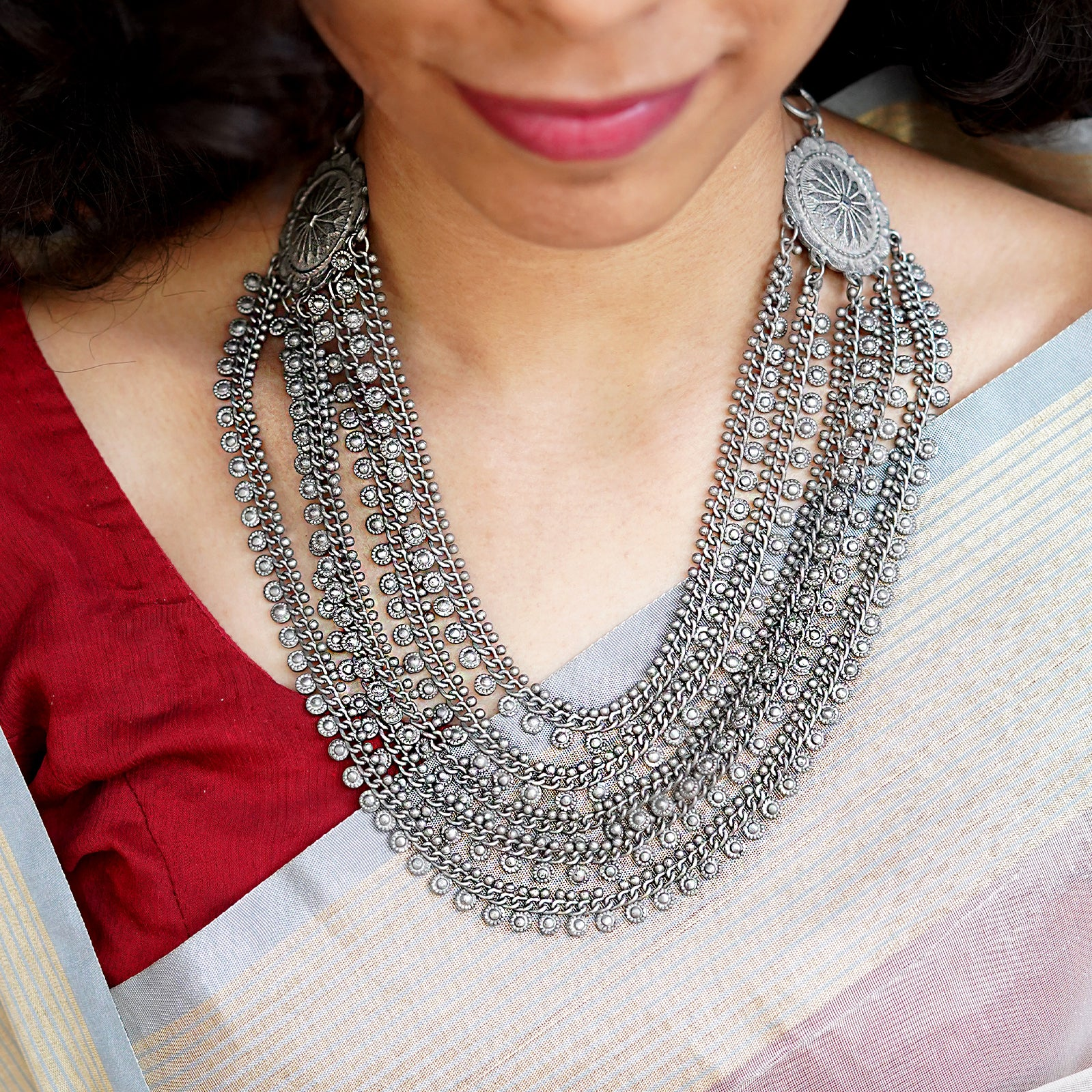 Teejh Nidhi Silver Oxidised Layered Necklace