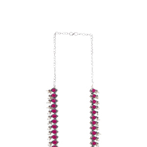 Teejh Shubh Red Stone Long Necklace Set