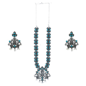 Teejh Zoey Blue Stone Temple Work Necklace Set