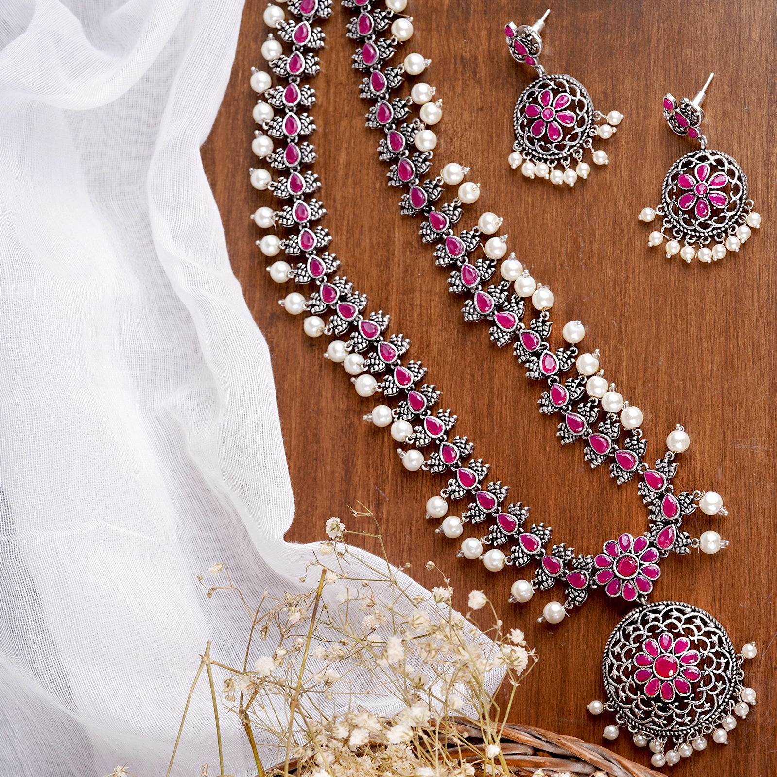 Teejh Aanika Red Stone Floral Necklace Set