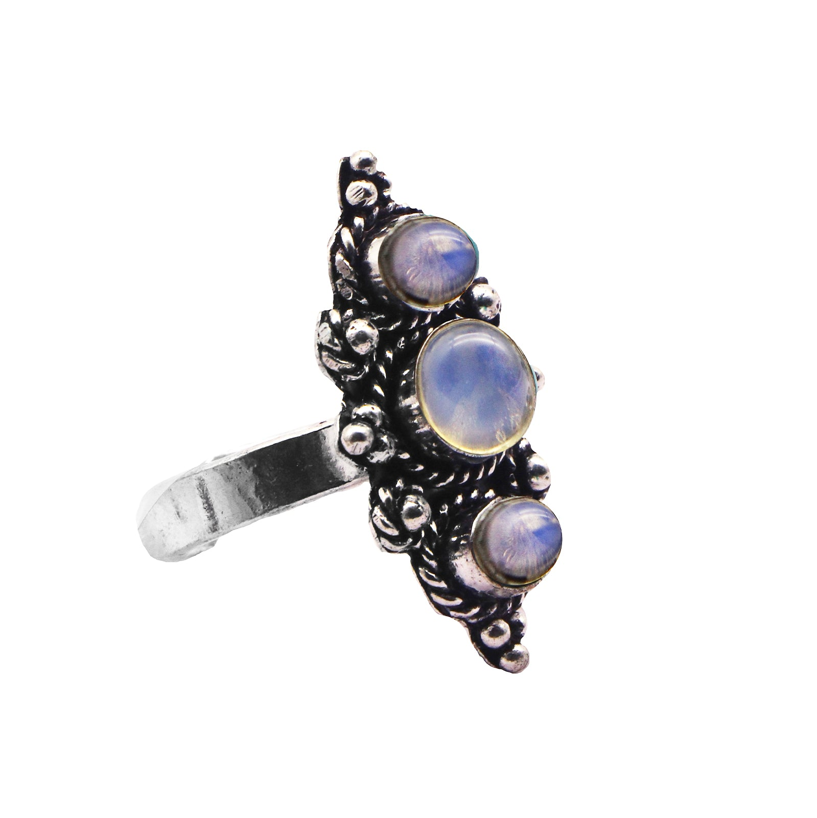 Veena White Silver Oxidized Ring