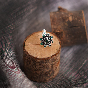 Teejh Aagamya Green Stone Silver Oxidised Nose Pin