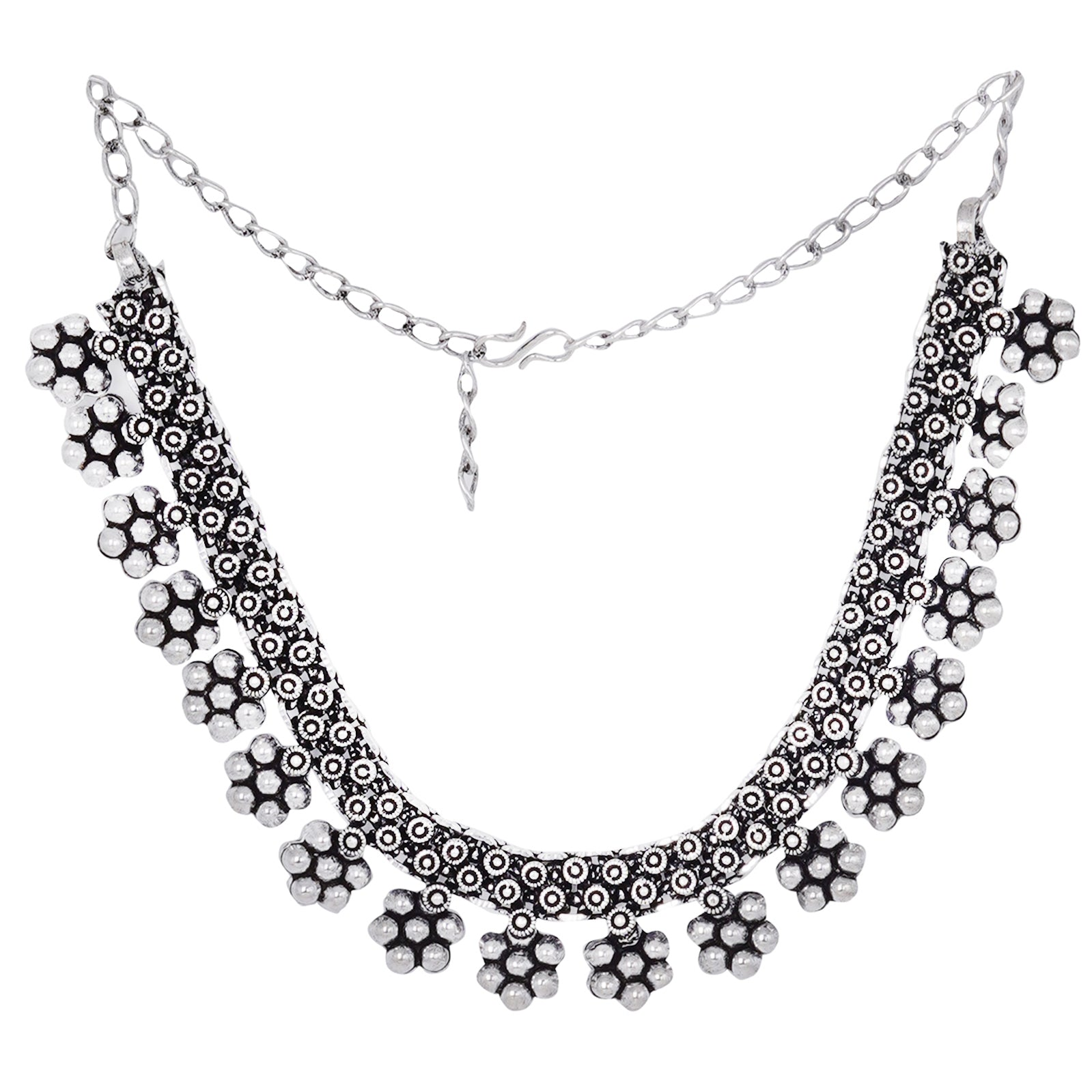 Teejh Praanvi Silver Oxidised Choker Necklace