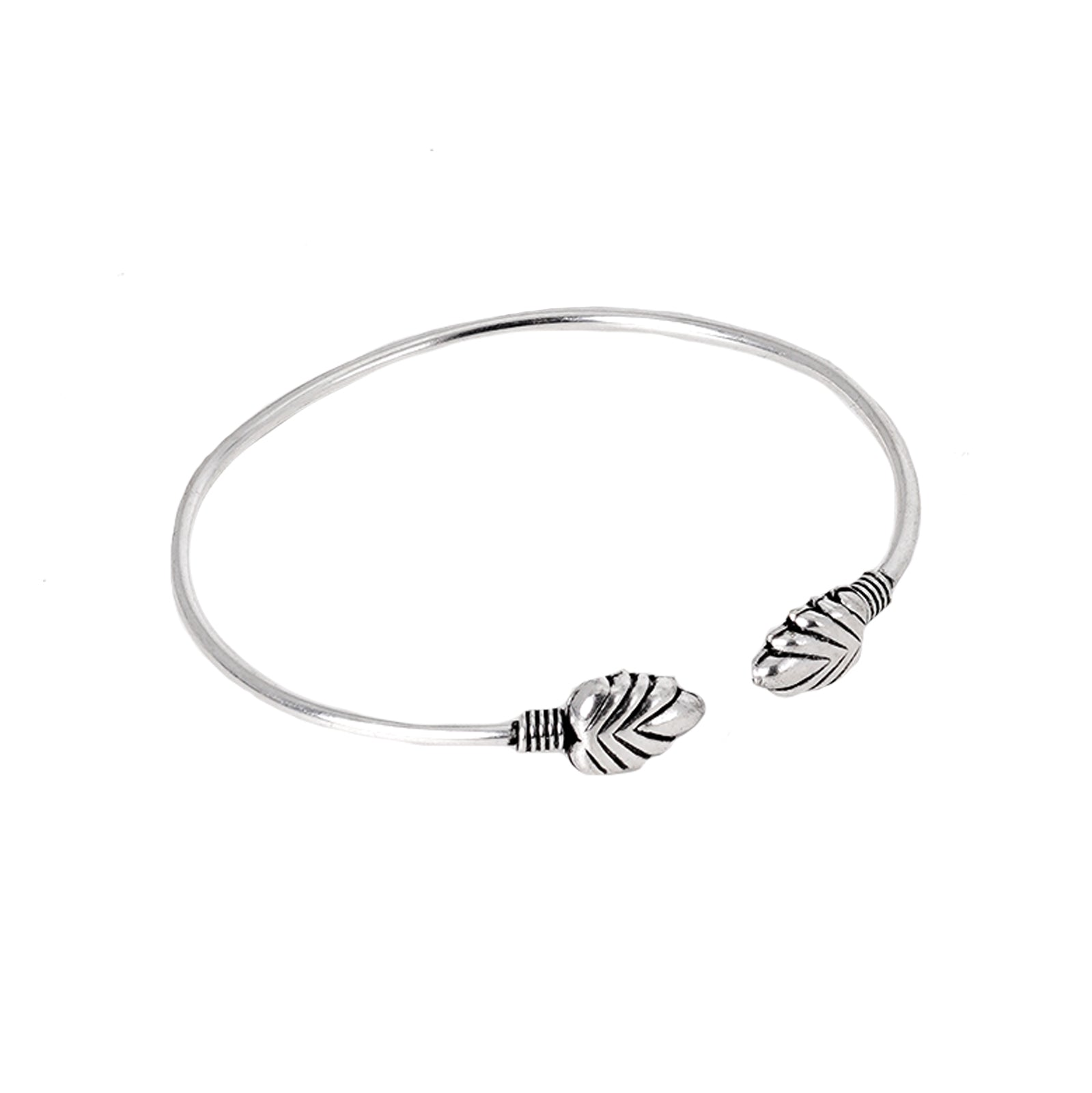 Teejh Vibha Leaf Silver Oxidised Bangle