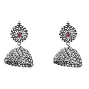 Teejh Dharvi Red Stone Antique Silver Jhumki
