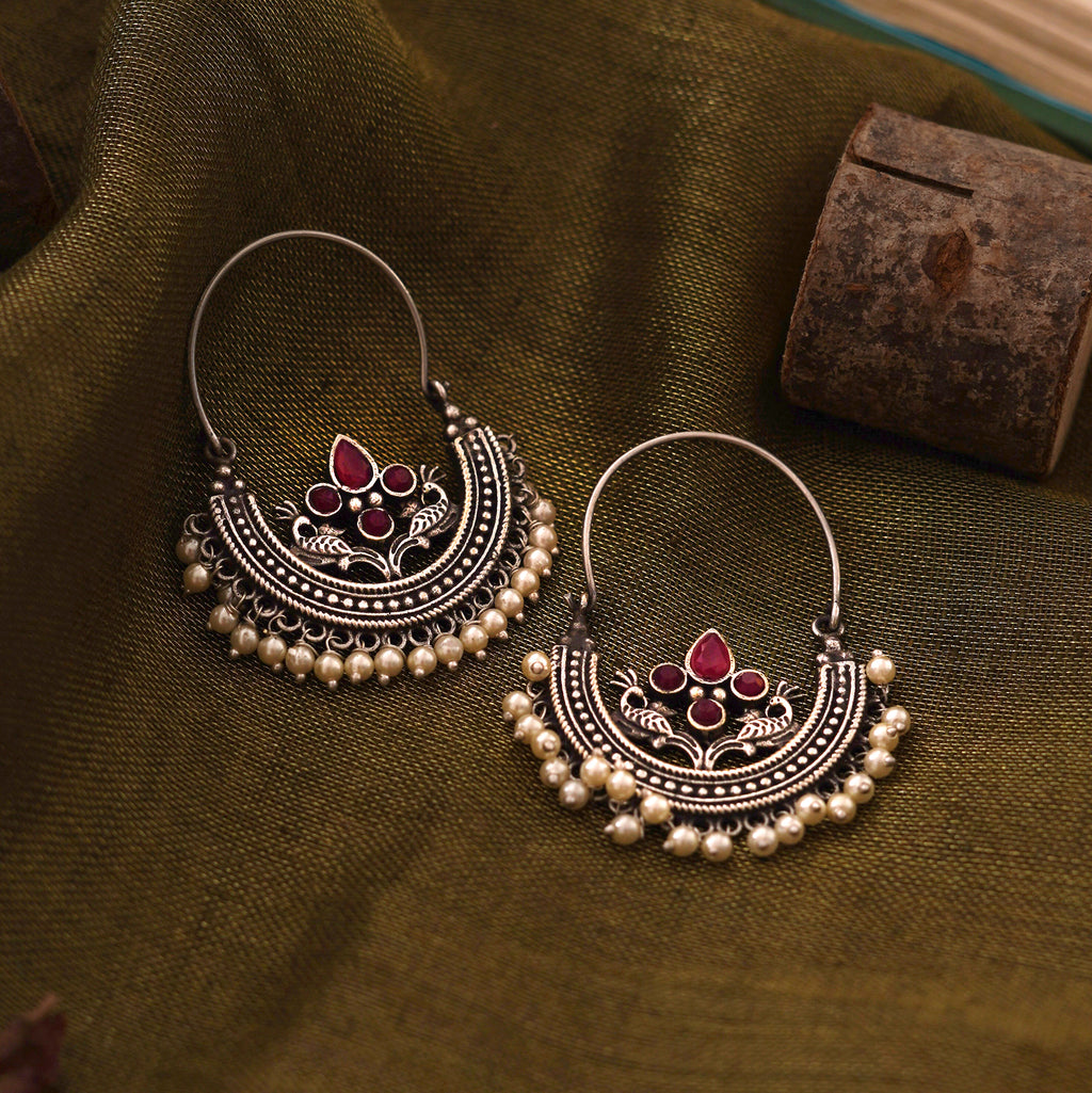 Teejh Saara Floral Red Stone Hoop Earrings