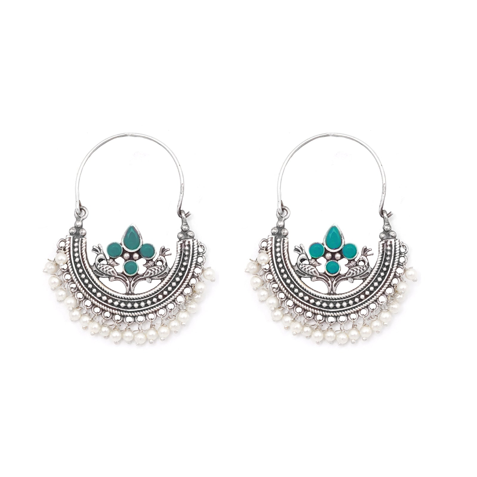 Teejh Saara Floral Green Stone Hoop Earrings