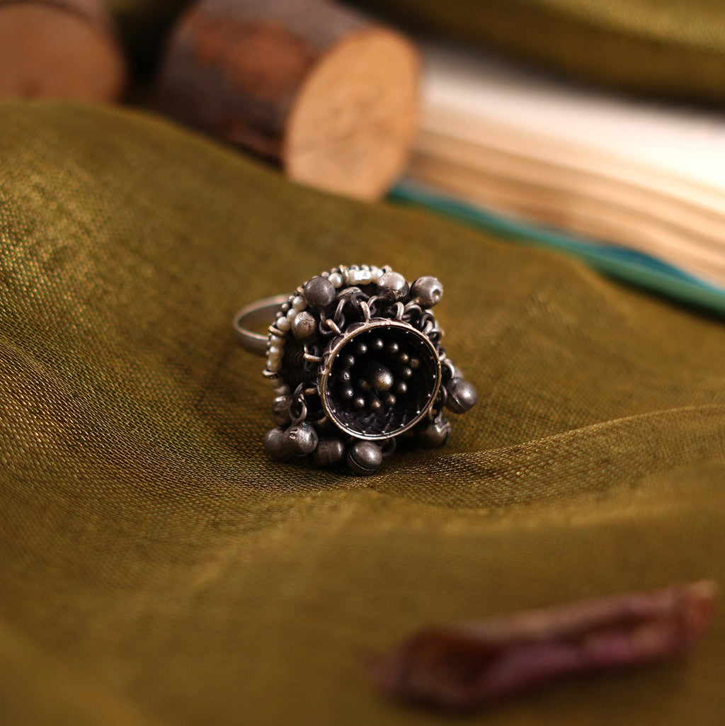 Teejh Riona Ghungroo Antique Silver Ring