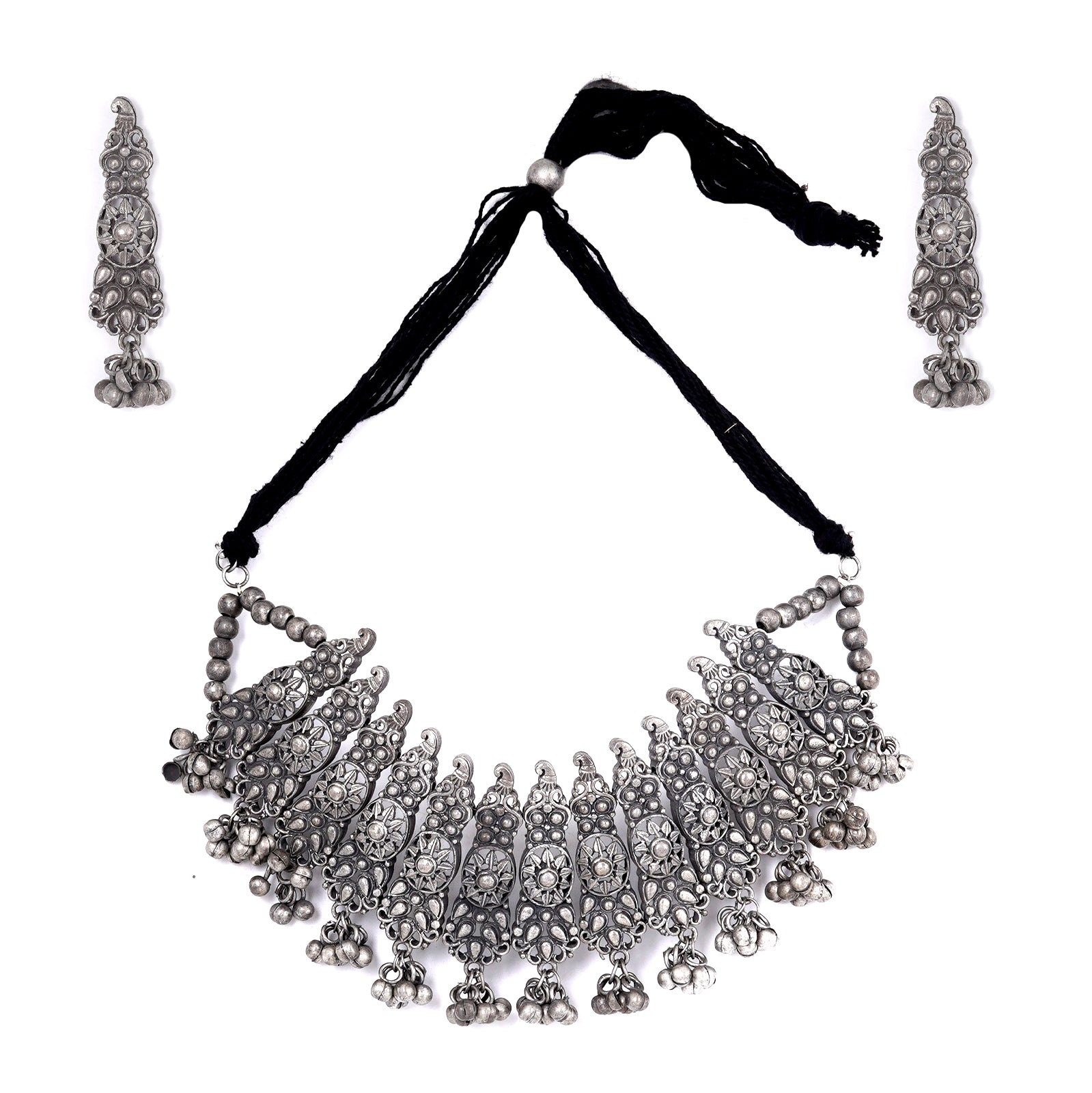 Teejh Anay Antique Silver Polish Choker Necklace Set