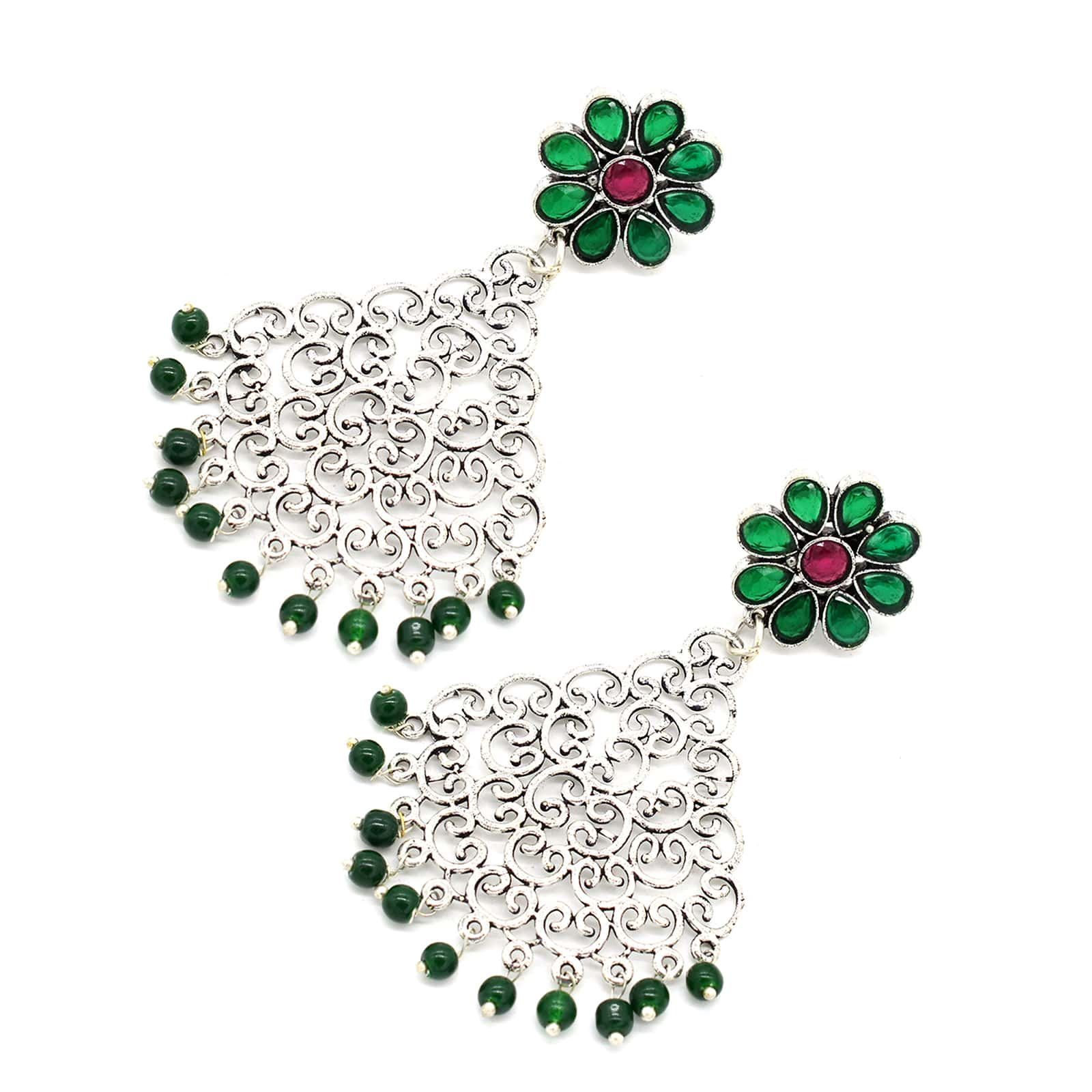 Jali Green Filigree Pearl Earrings - Teejh