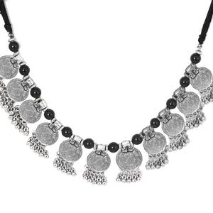 Teejh Drithi Antique Coin Silver Oxidised Choker Necklace