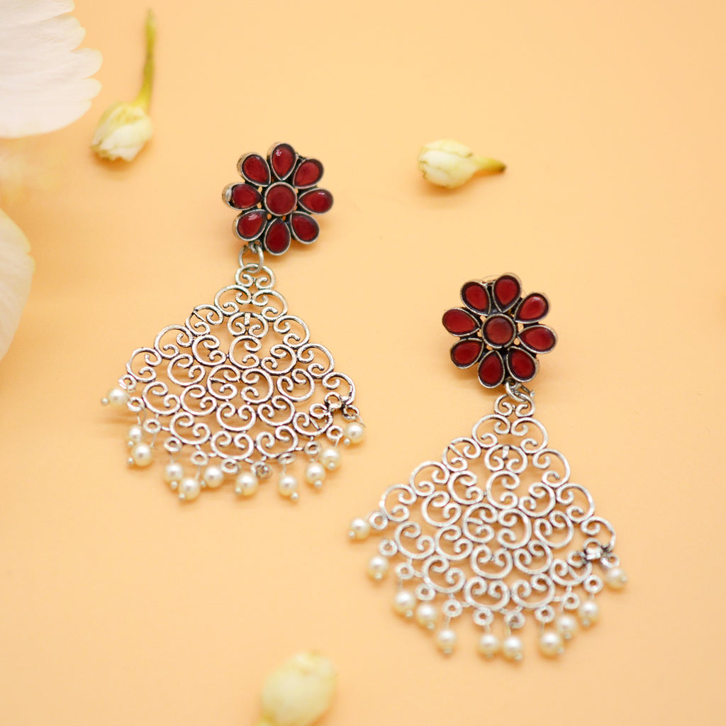 Jali Red Filigree Pearl Earrings - Teejh