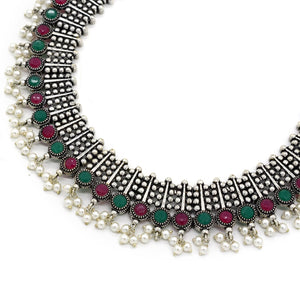 Symmetric Multi colored Silver Necklace Set - Teejh