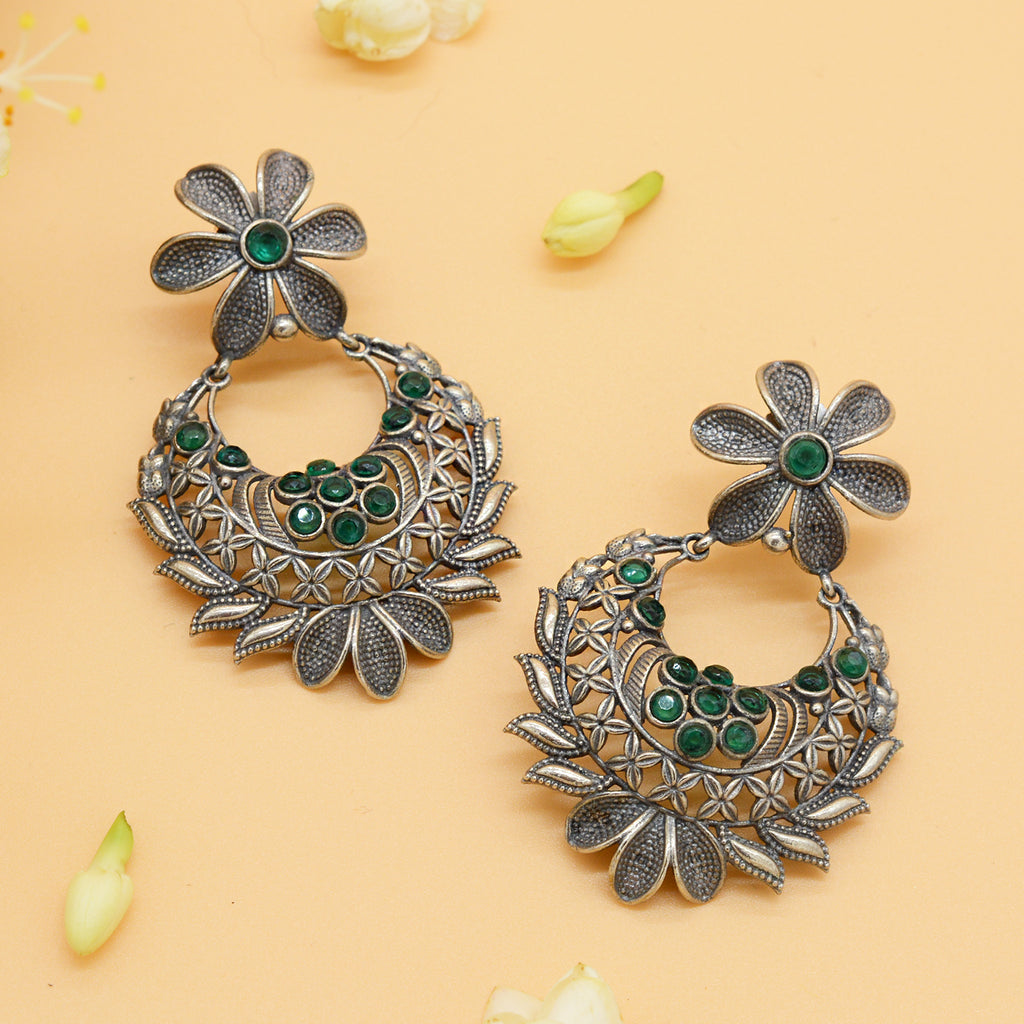 Manas Green Stone Silver Floral Earrings - Teejh