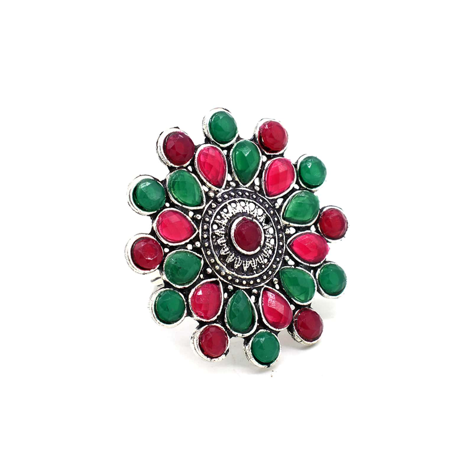 Vani Multi Colored Stone Silver Ring - Teejh