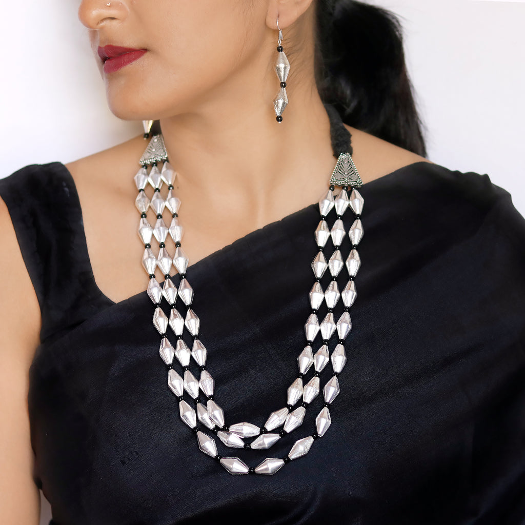 3 Layered Dholki Silver Black Necklace Set - Teejh