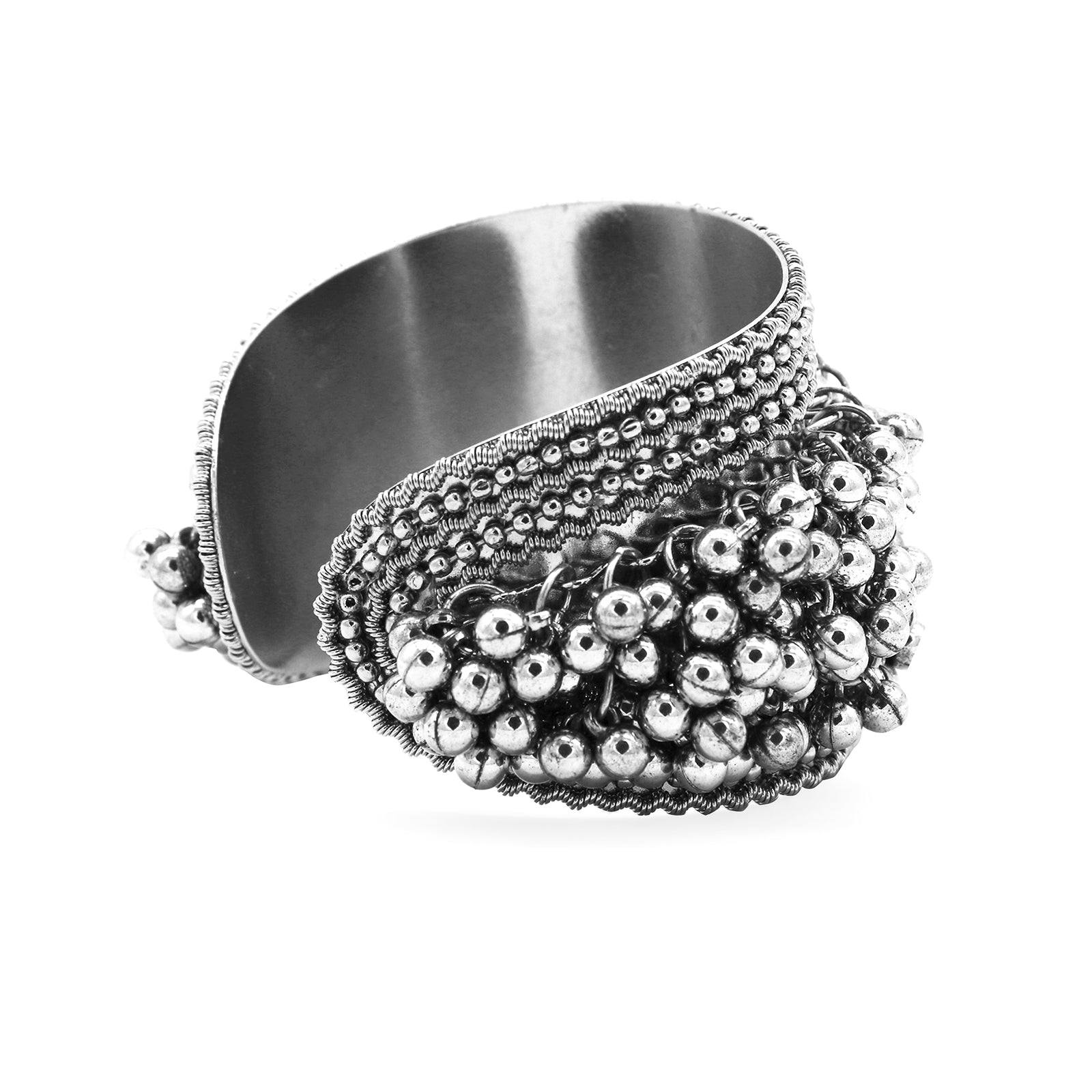 Chakrika Silver Gungroo Oxidized Bangle - Teejh