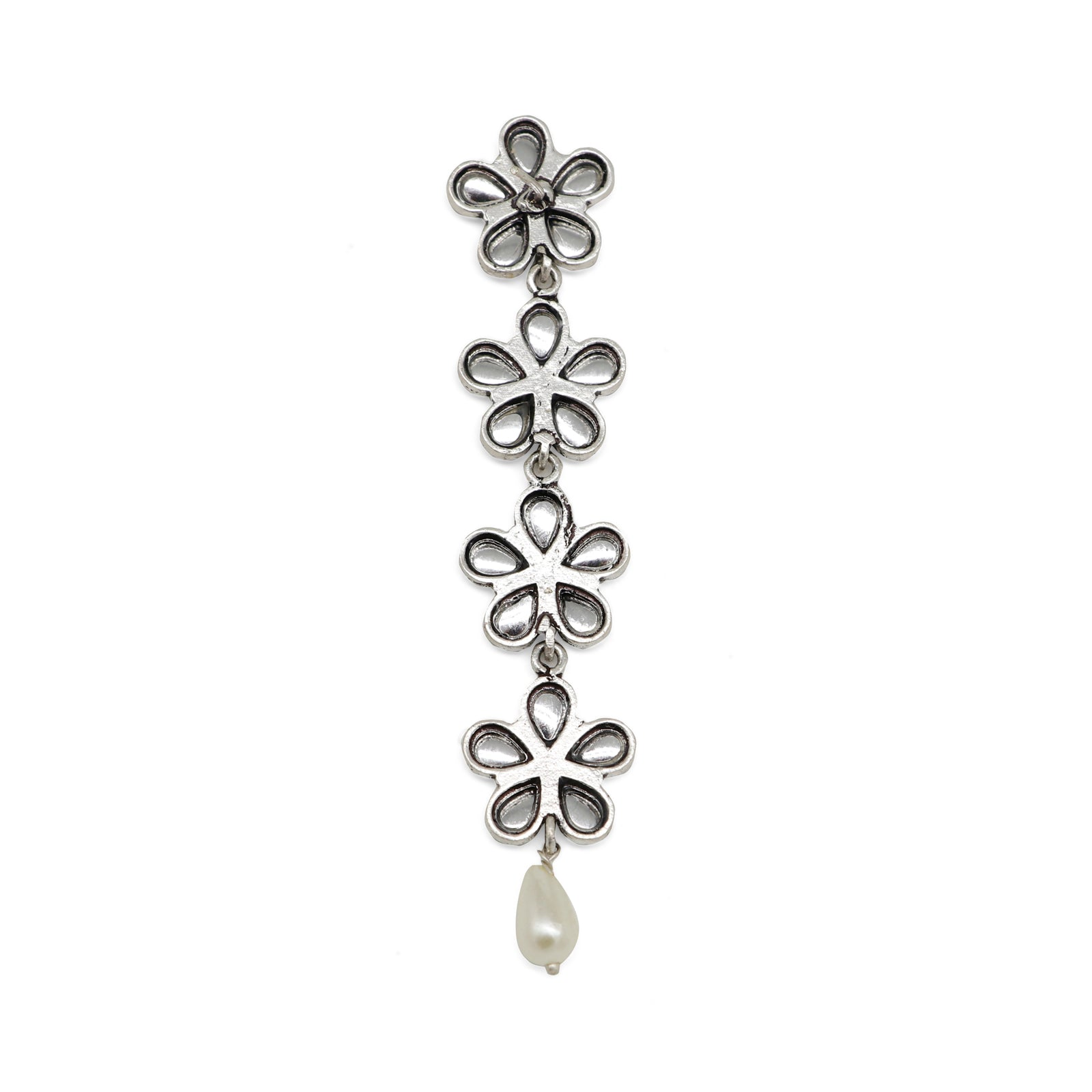 Aathavi Floral Polki Silver Oxidized Earrings - Teejh