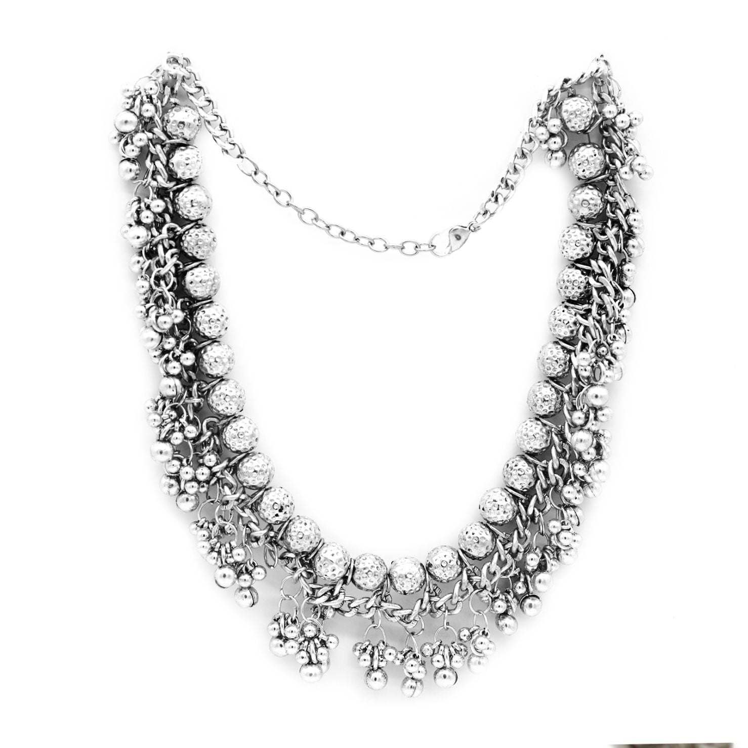 Bodhi  Silver Oxidized Gungroo Necklace - Teejh