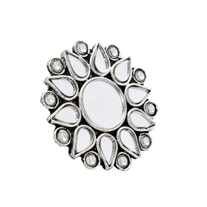 Heer Silver Oxidized Mirror Ring - Teejh
